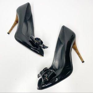 Stuart Weitzman Shoes - Stuart Weitzman Black Patent Bowden Peep Toe Pumps